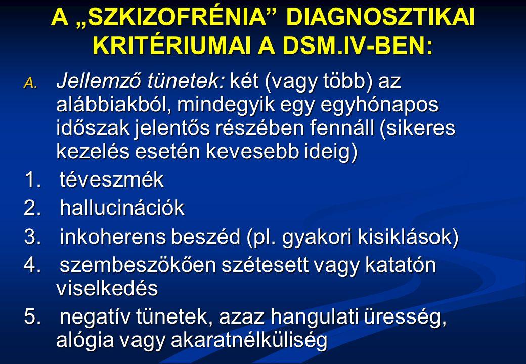 """A """"SZKIZOFRÉNIA DIAGNOSZTIKAI KRITÉRIUMAI A DSM.IV-BEN:"""