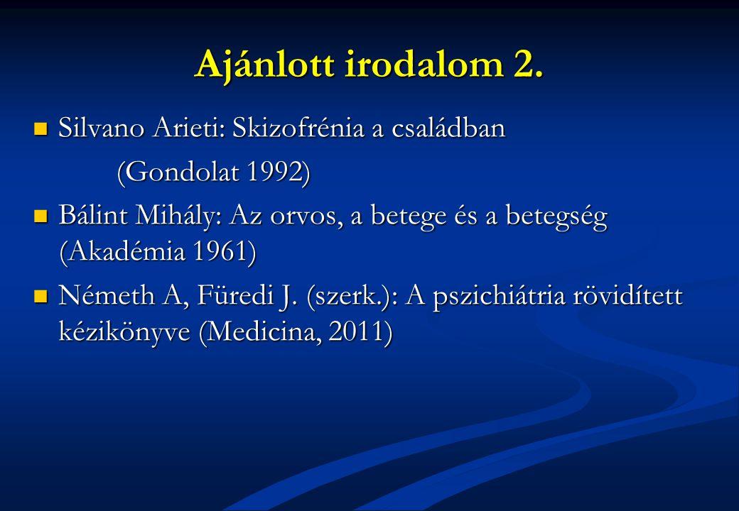 Ajánlott irodalom 2. Silvano Arieti: Skizofrénia a családban