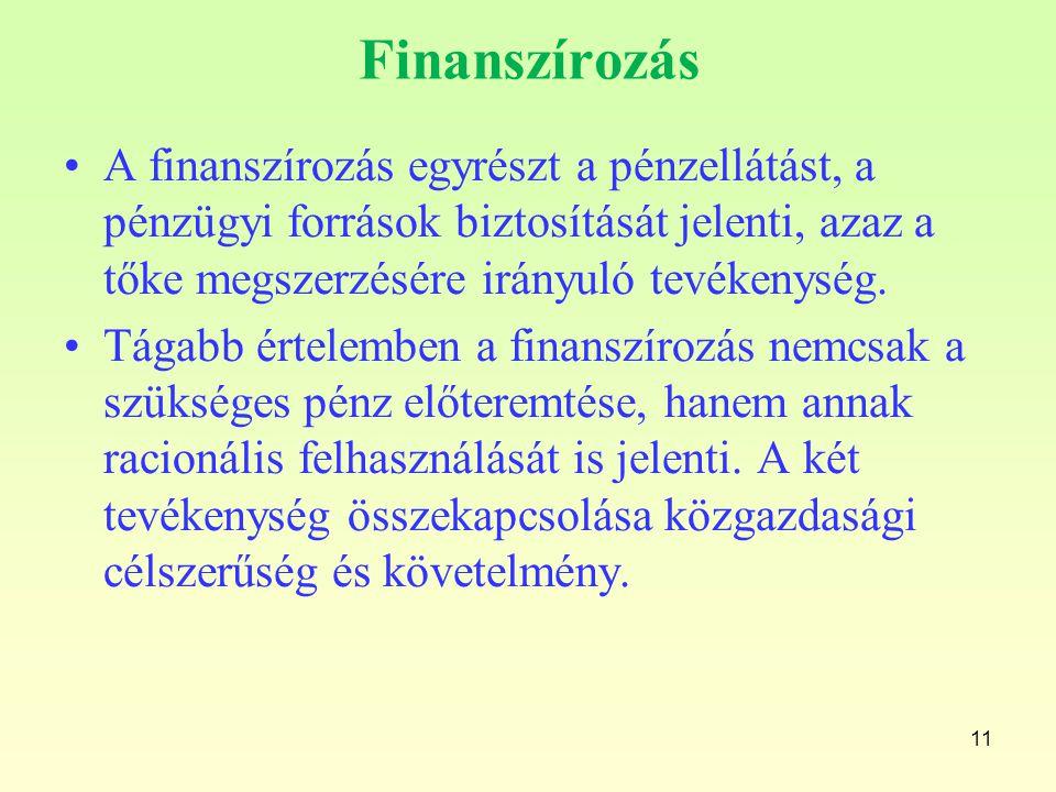 Finanszírozás A finanszírozás egyrészt a pénzellátást, a pénzügyi források biztosítását jelenti, azaz a tőke megszerzésére irányuló tevékenység.