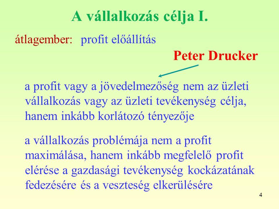 A vállalkozás célja I. Peter Drucker átlagember: profit előállítás