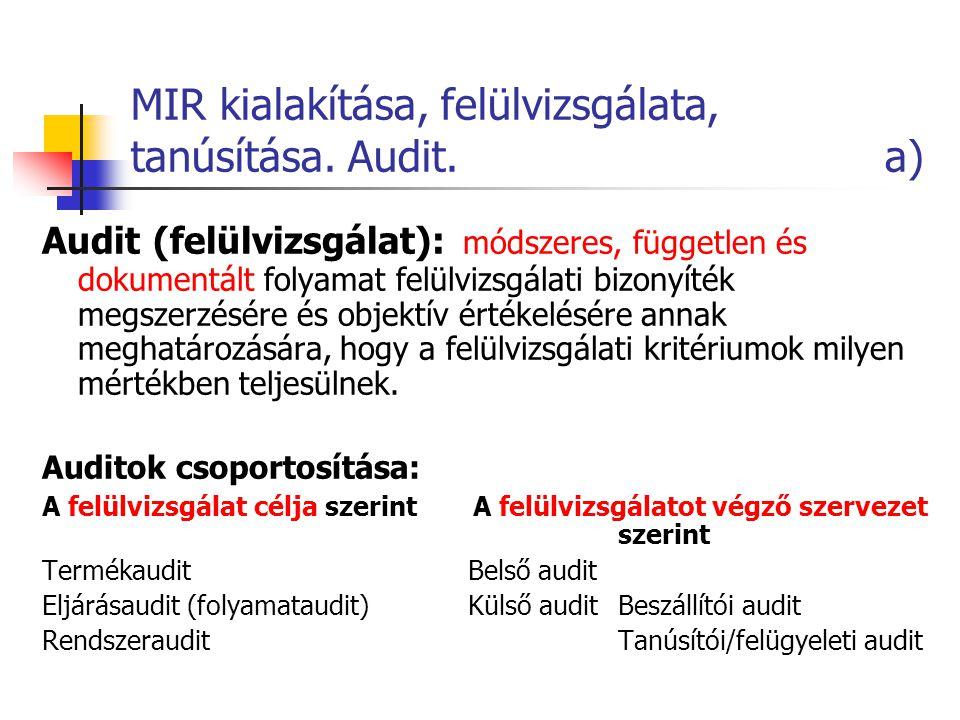 MIR kialakítása, felülvizsgálata, tanúsítása. Audit. a)