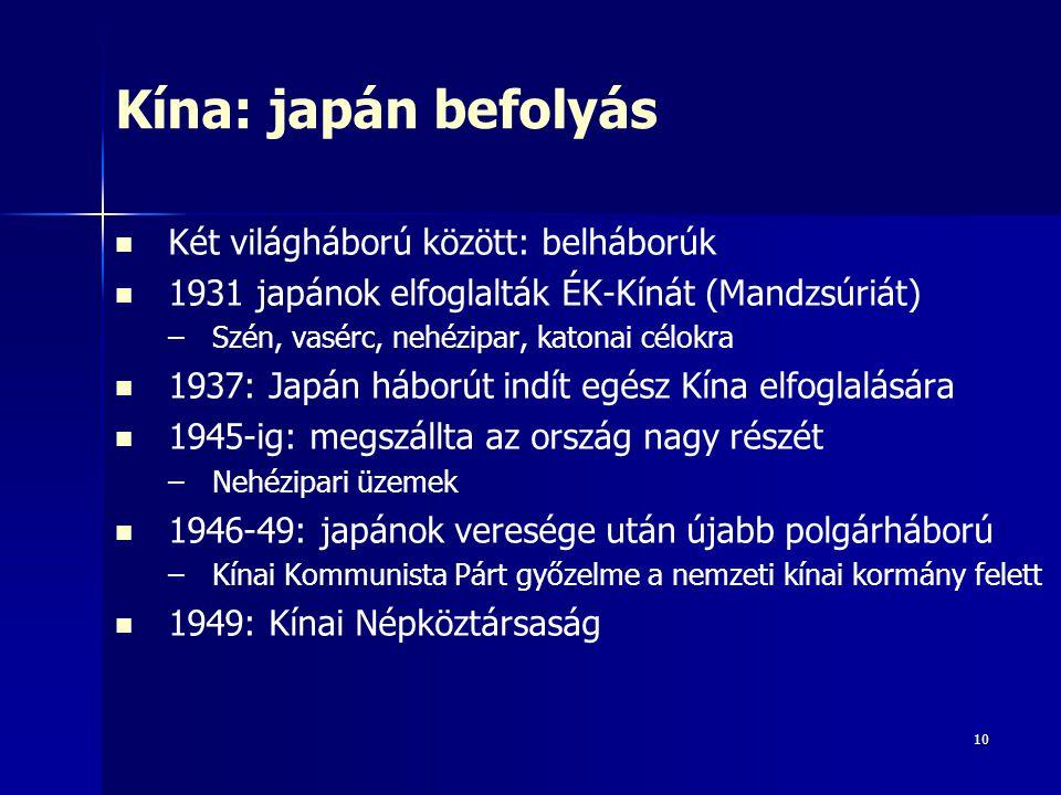Kína: japán befolyás Két világháború között: belháborúk