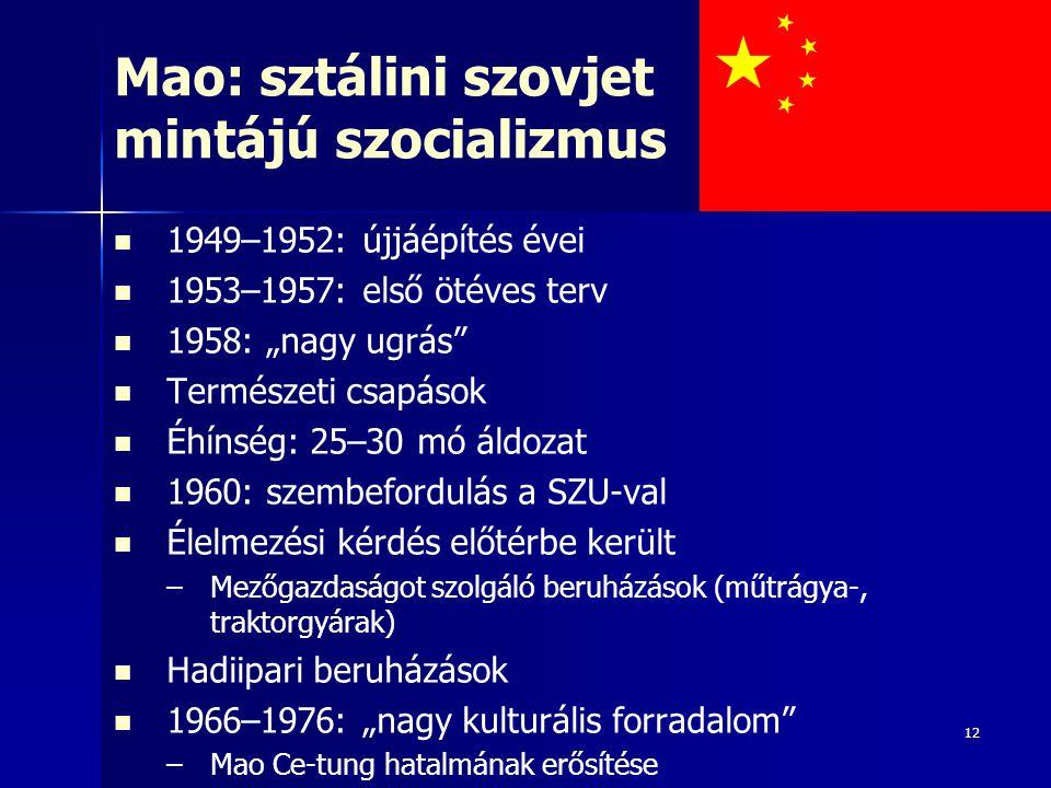Mao: sztálini szovjet mintájú szocializmus