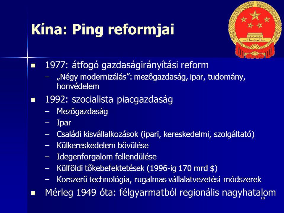 Kína: Ping reformjai 1977: átfogó gazdaságirányítási reform