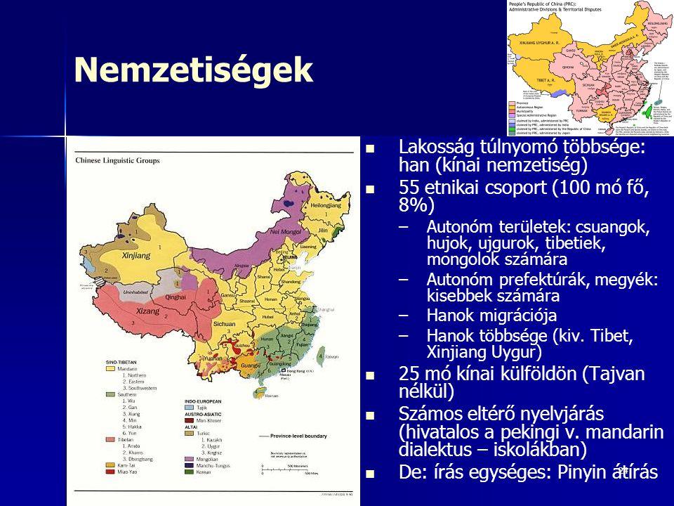 Nemzetiségek Lakosság túlnyomó többsége: han (kínai nemzetiség)