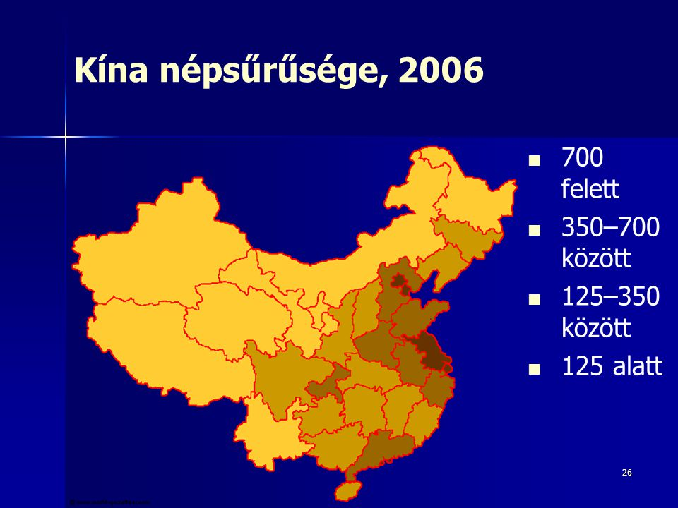 Kína népsűrűsége, 2006 700 felett 350–700 között 125–350 között