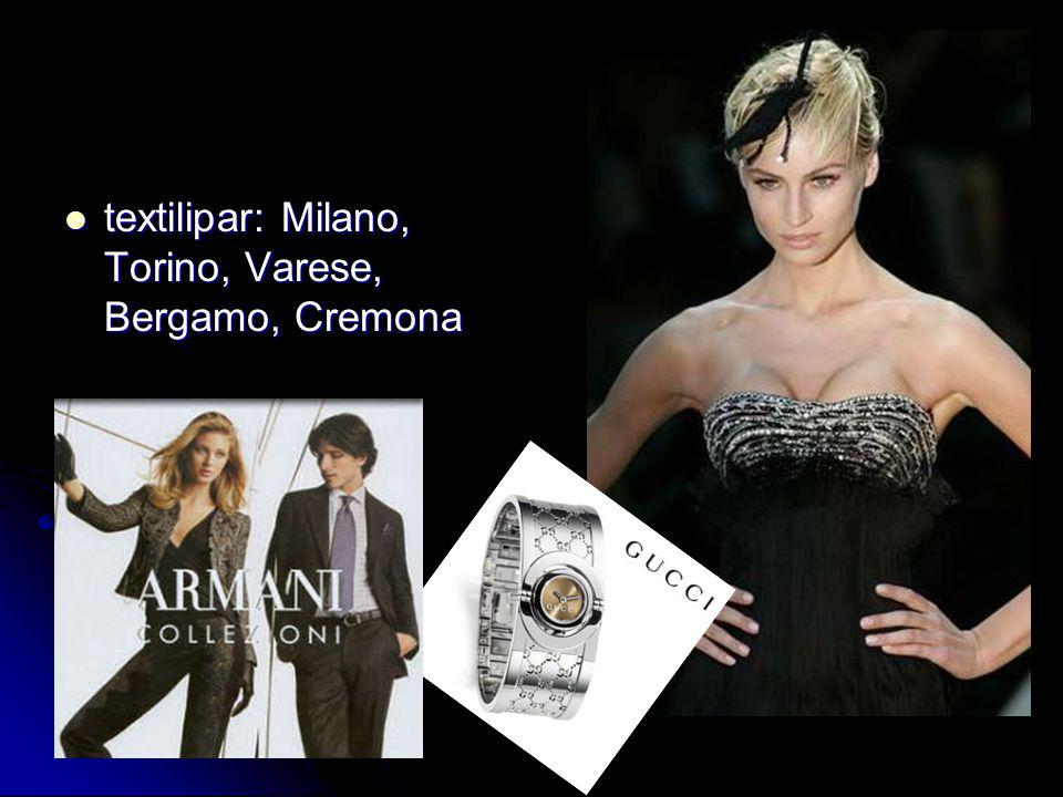 textilipar: Milano, Torino, Varese, Bergamo, Cremona