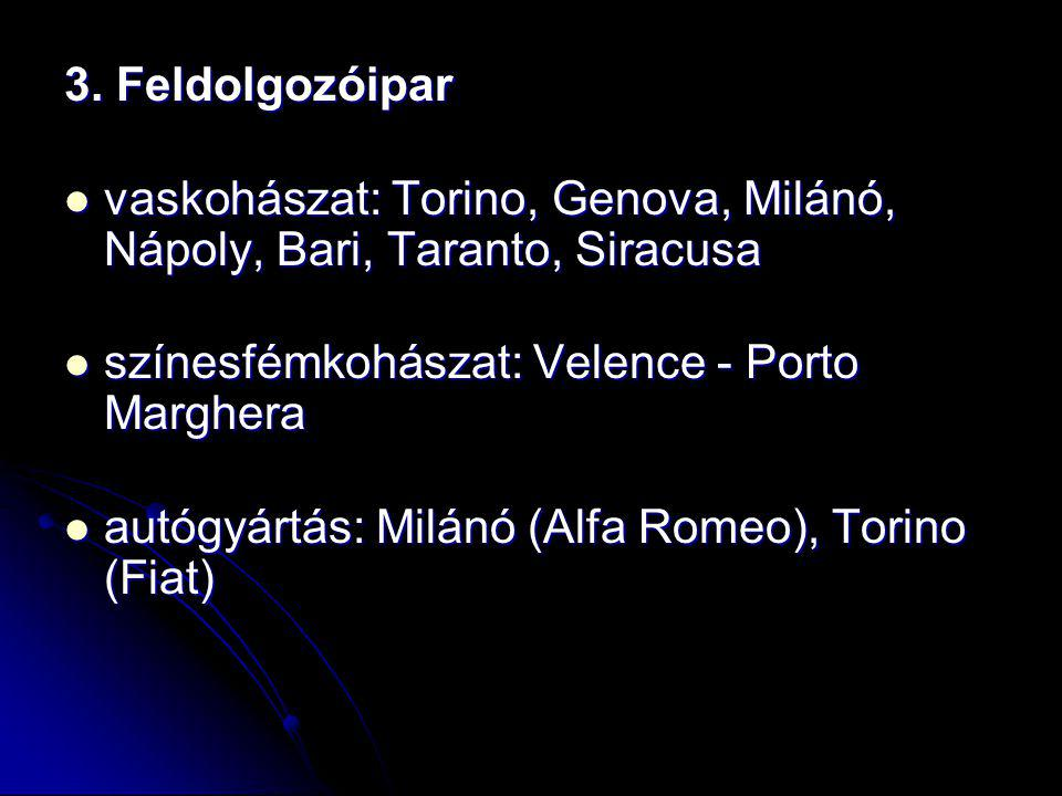 3. Feldolgozóipar vaskohászat: Torino, Genova, Milánó, Nápoly, Bari, Taranto, Siracusa. színesfémkohászat: Velence - Porto Marghera.