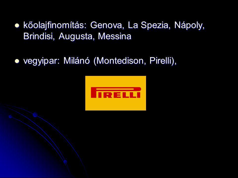 kőolajfinomítás: Genova, La Spezia, Nápoly, Brindisi, Augusta, Messina