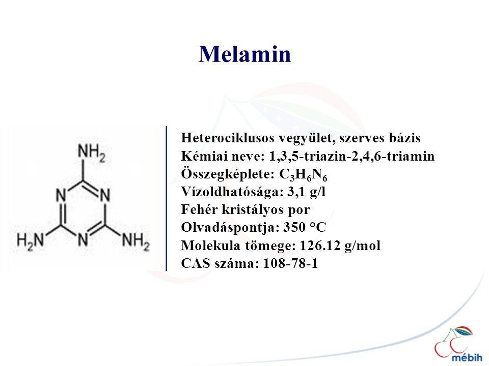 Melamin Heterociklusos vegyület, szerves bázis