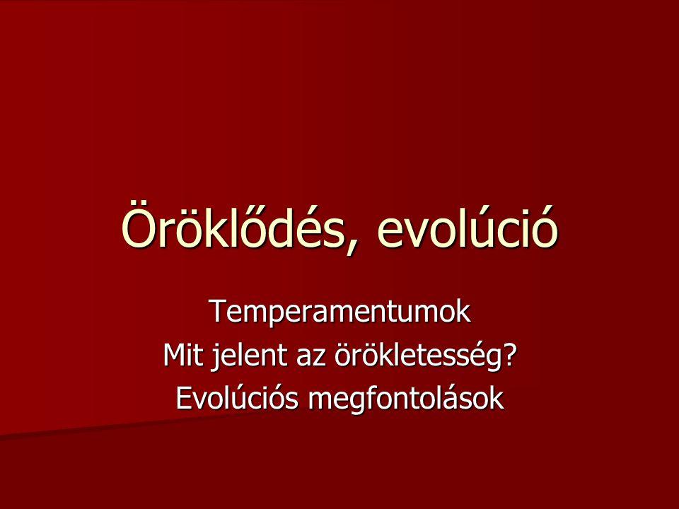 Temperamentumok Mit jelent az örökletesség Evolúciós megfontolások