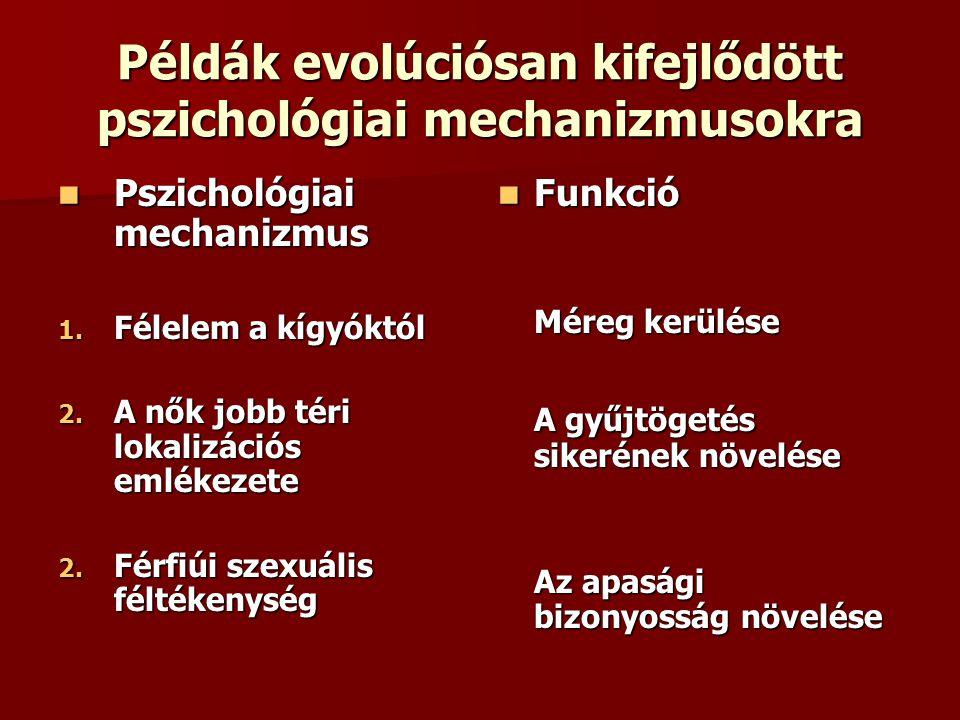 Példák evolúciósan kifejlődött pszichológiai mechanizmusokra
