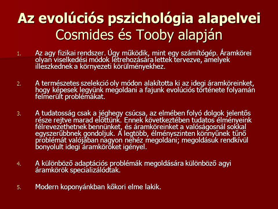 Az evolúciós pszichológia alapelvei Cosmides és Tooby alapján