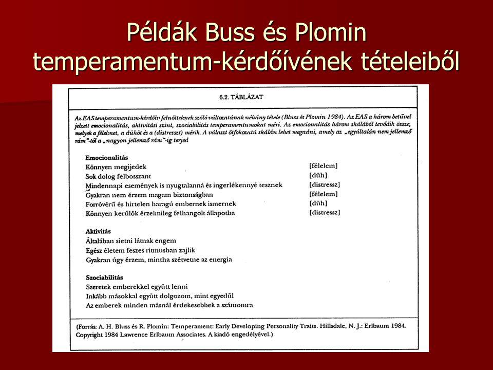 Példák Buss és Plomin temperamentum-kérdőívének tételeiből
