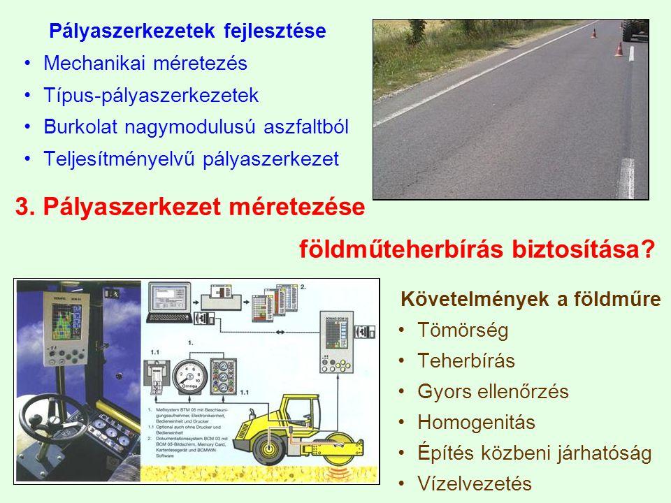 3. Pályaszerkezet méretezése földműteherbírás biztosítása