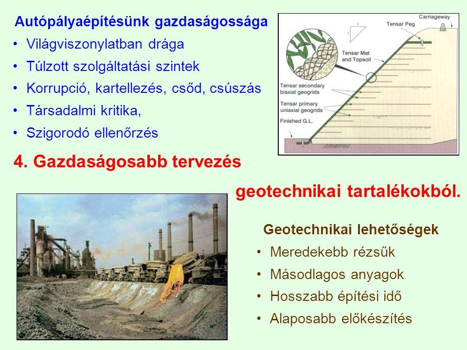 4. Gazdaságosabb tervezés geotechnikai tartalékokból.