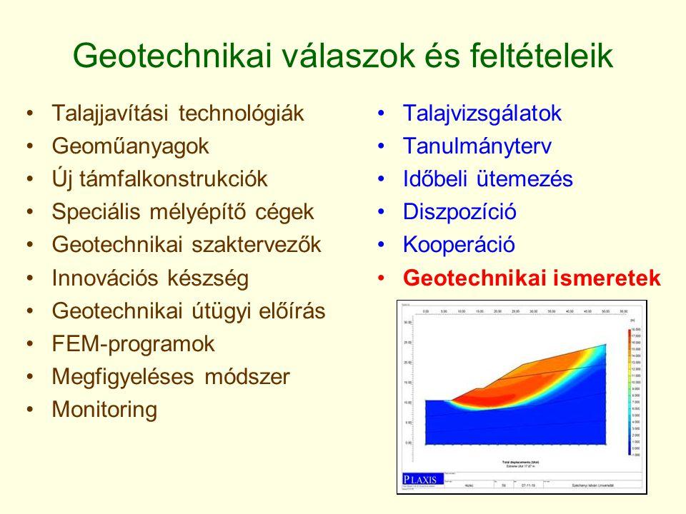 Geotechnikai válaszok és feltételeik