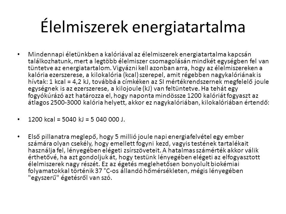 Élelmiszerek energiatartalma