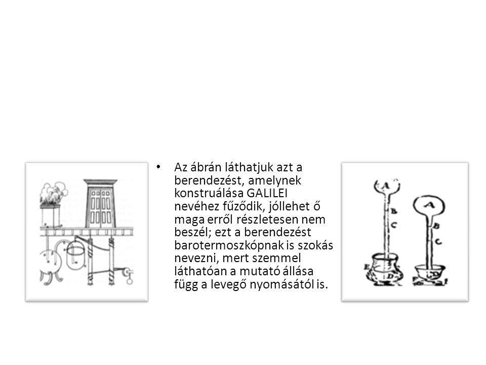 Az ábrán láthatjuk azt a berendezést, amelynek konstruálása GALILEI nevéhez fűződik, jóllehet ő maga erről részletesen nem beszél; ezt a berendezést barotermoszkópnak is szokás nevezni, mert szemmel láthatóan a mutató állása függ a levegő nyomásától is.