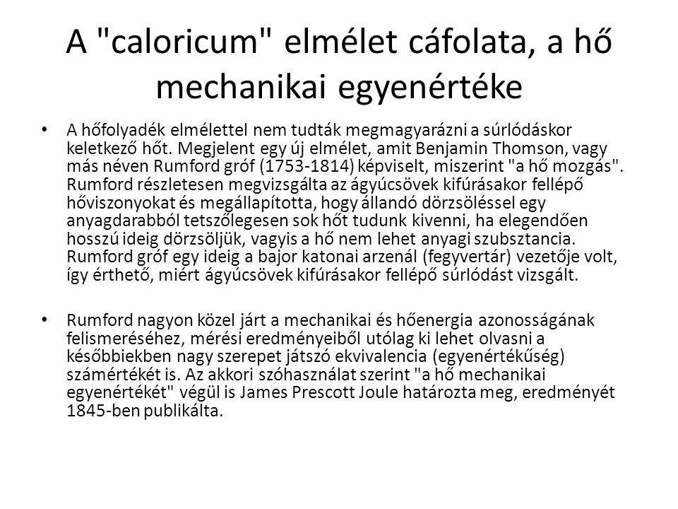 A caloricum elmélet cáfolata, a hő mechanikai egyenértéke