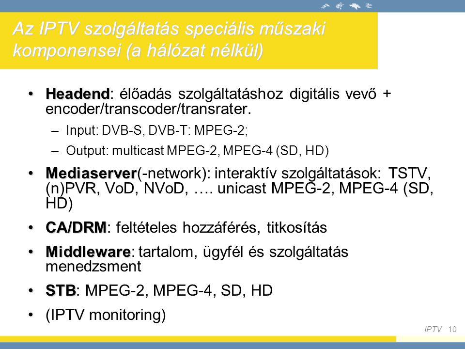Az IPTV szolgáltatás speciális műszaki komponensei (a hálózat nélkül)