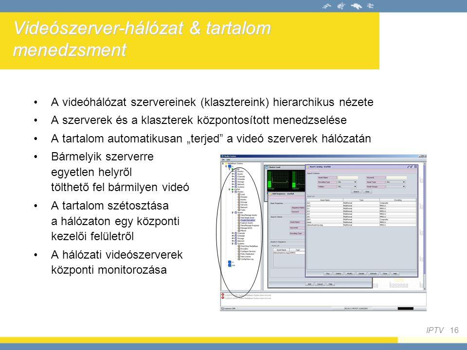 Videószerver-hálózat & tartalom menedzsment