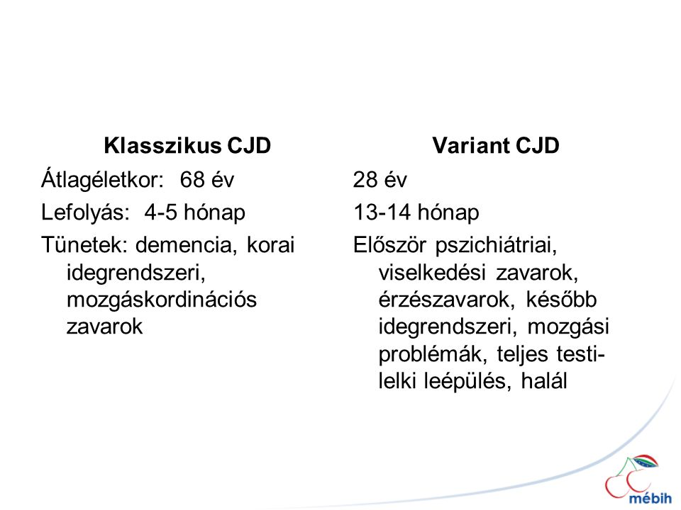 Klasszikus CJD Variant CJD. Átlagéletkor: 68 év Lefolyás: 4-5 hónap Tünetek: demencia, korai idegrendszeri, mozgáskordinációs zavarok
