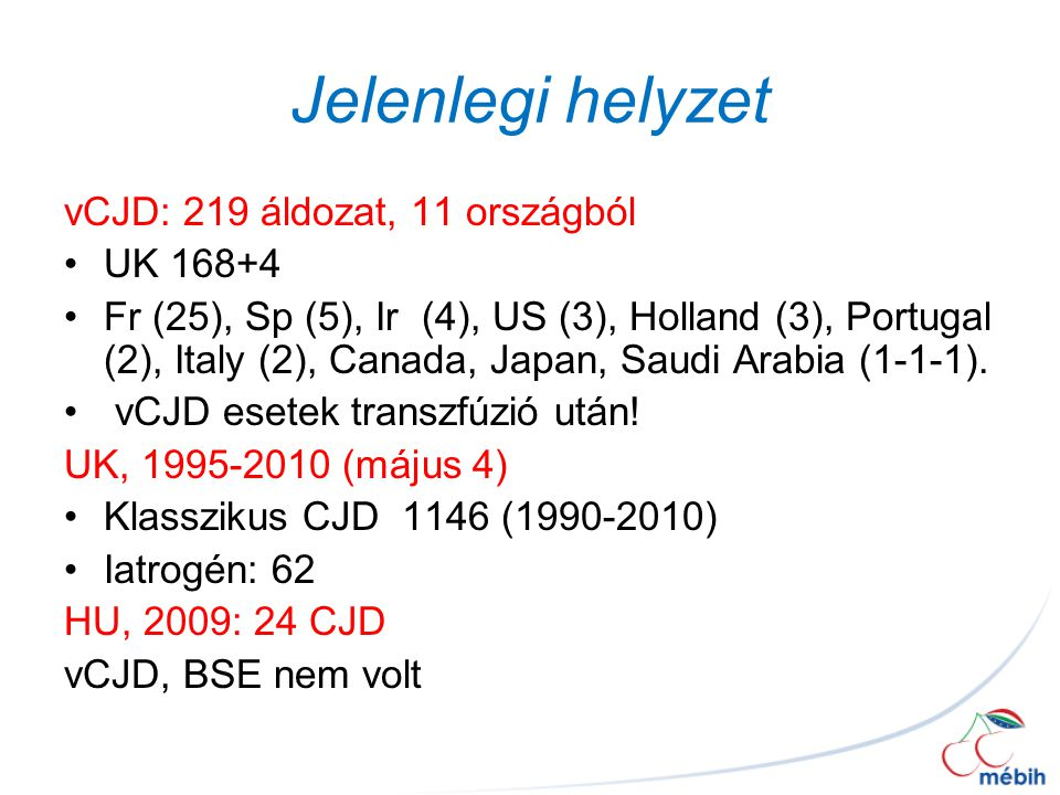 Jelenlegi helyzet vCJD: 219 áldozat, 11 országból UK 168+4