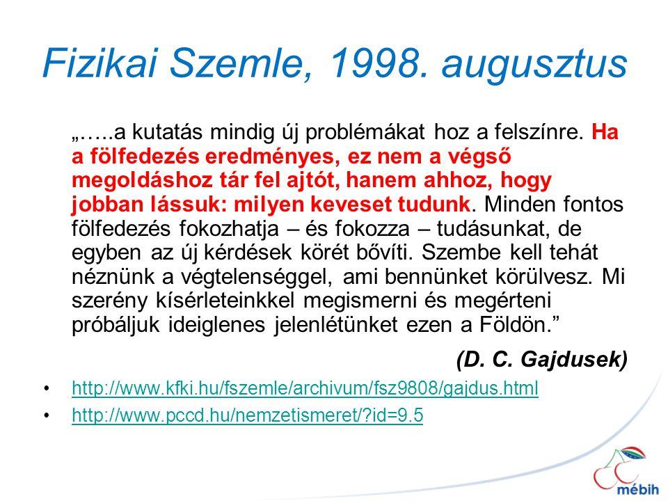 Fizikai Szemle, 1998. augusztus