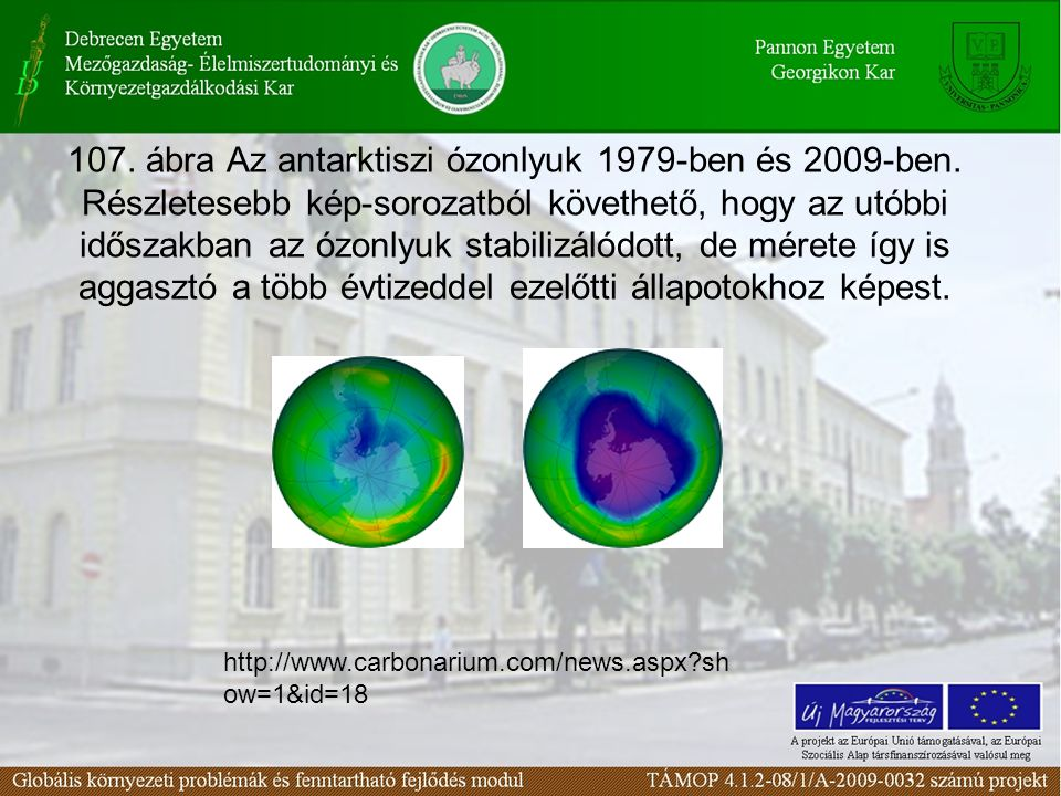107. ábra Az antarktiszi ózonlyuk 1979-ben és 2009-ben