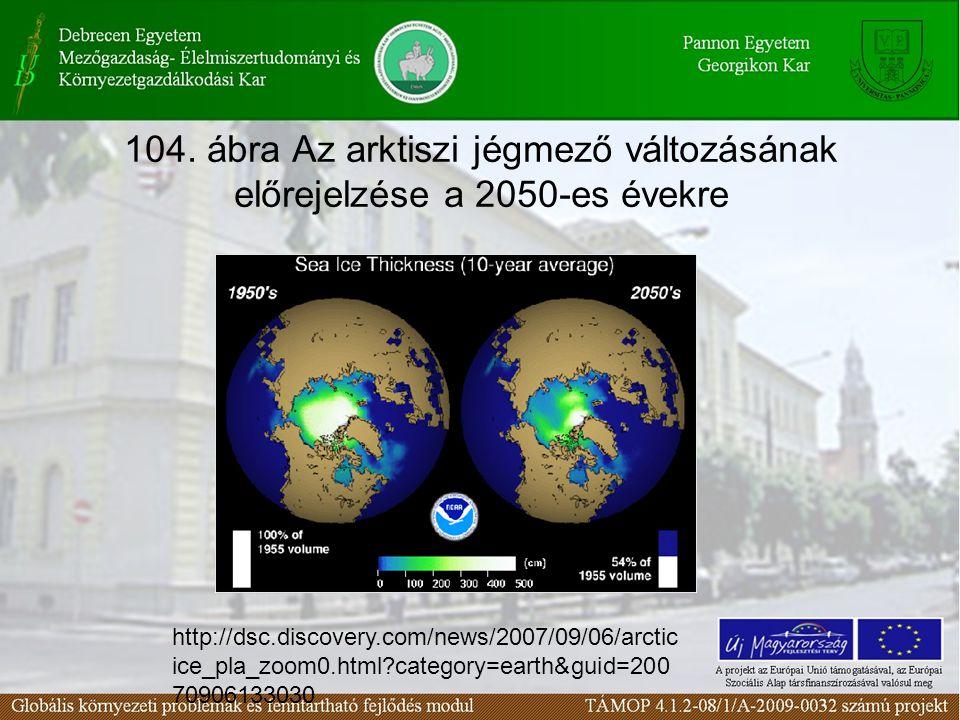 104. ábra Az arktiszi jégmező változásának előrejelzése a 2050-es évekre