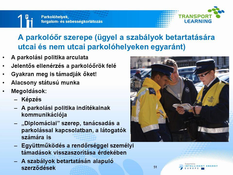 A parkolóőr szerepe (ügyel a szabályok betartatására utcai és nem utcai parkolóhelyeken egyaránt)