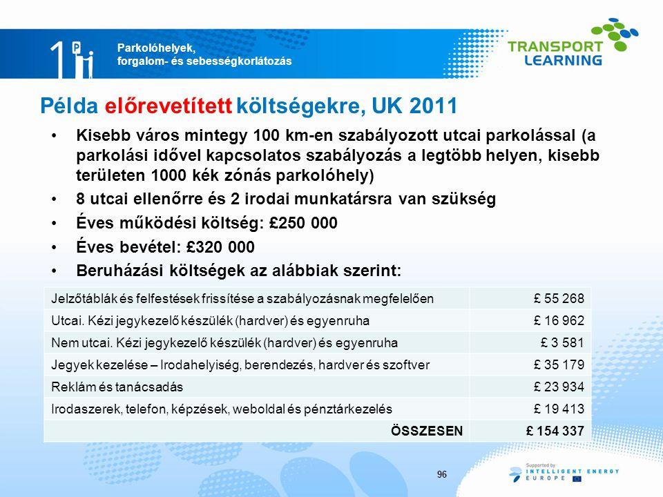 Példa előrevetített költségekre, UK 2011