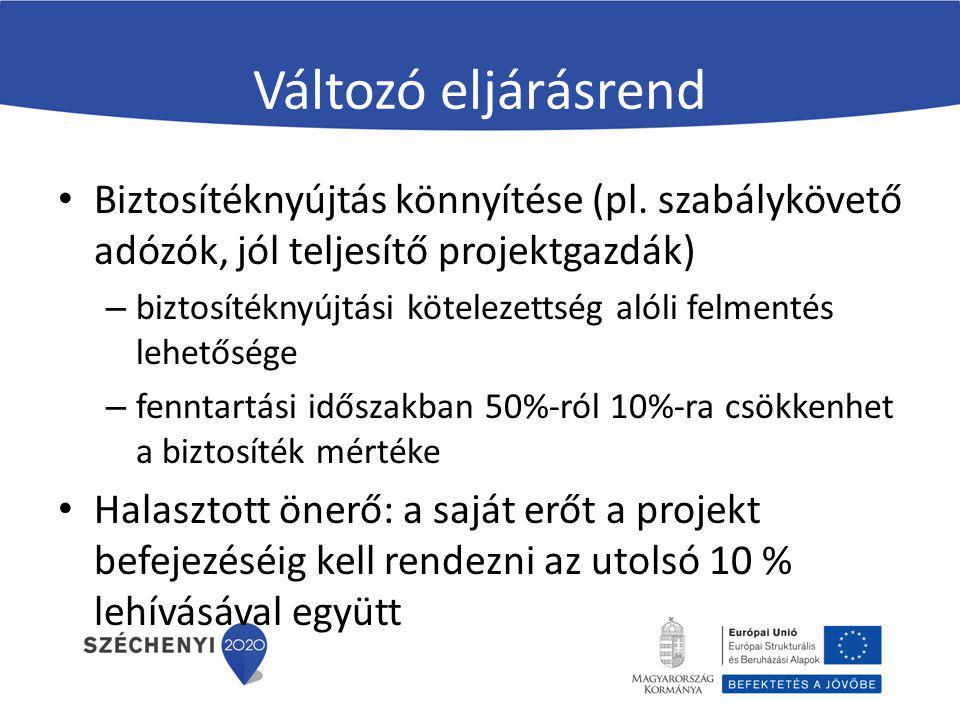 Változó eljárásrend Biztosítéknyújtás könnyítése (pl. szabálykövető adózók, jól teljesítő projektgazdák)