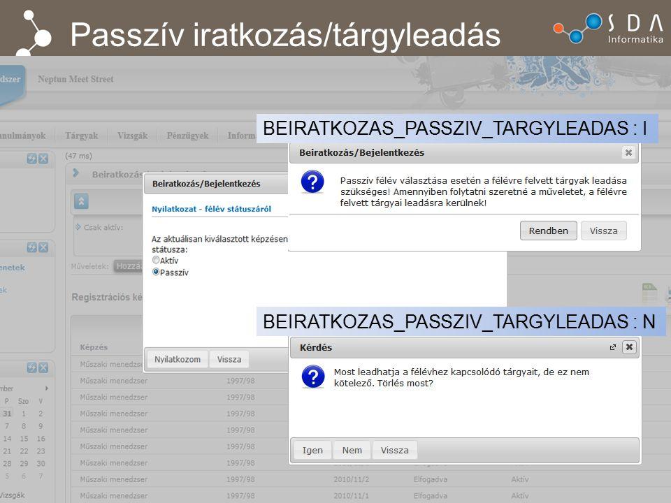 Passzív iratkozás/tárgyleadás