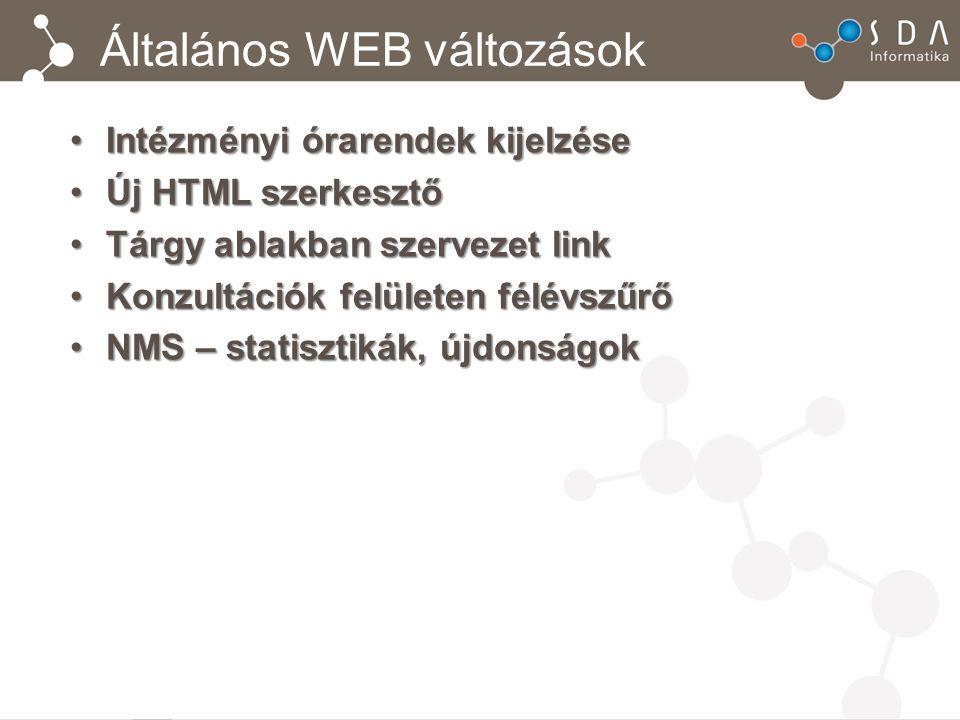 Általános WEB változások