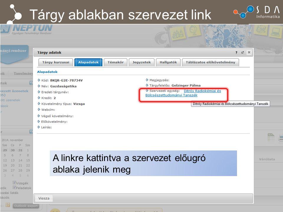 Tárgy ablakban szervezet link