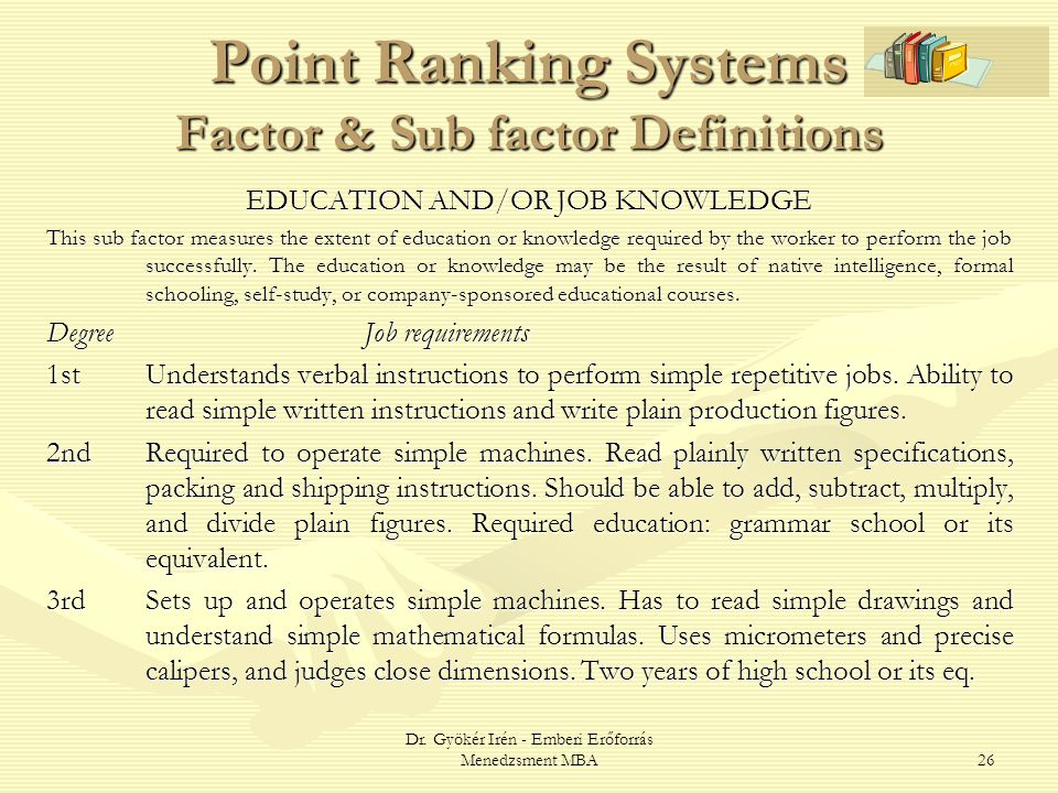 Point Ranking Systems Factor & Sub factor Definitions