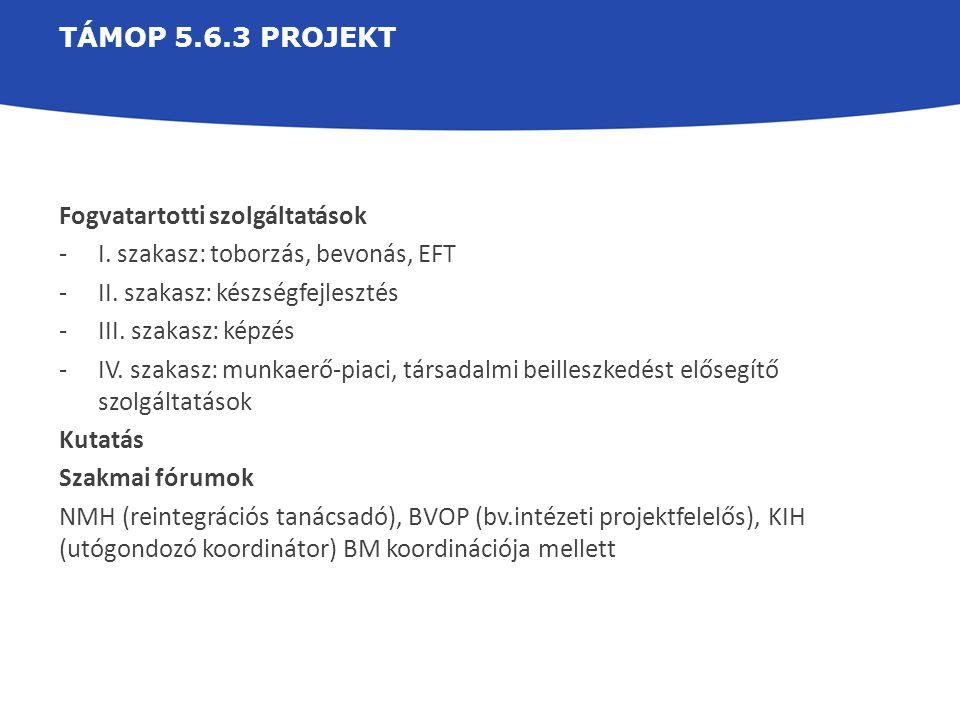 TÁMOP 5.6.3 projekt Fogvatartotti szolgáltatások. I. szakasz: toborzás, bevonás, EFT. II. szakasz: készségfejlesztés.