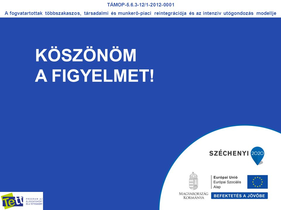KÖSZÖNÖM A FIGYELMET! TÁMOP-5.6.3-12/1-2012-0001