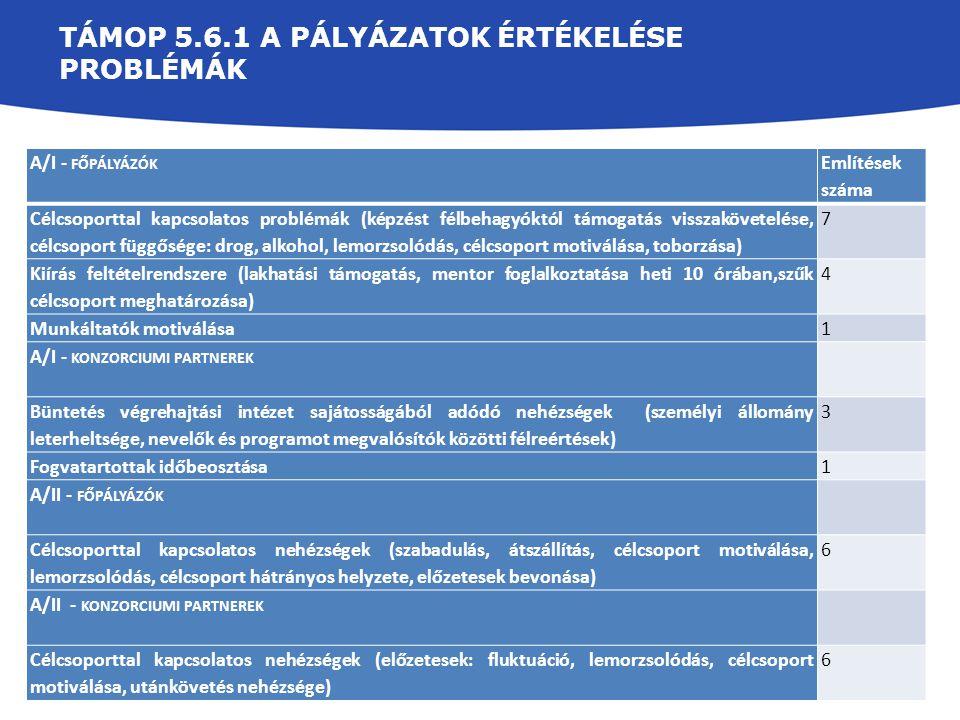 TÁMOP 5.6.1 A pályázatok Értékelése Problémák