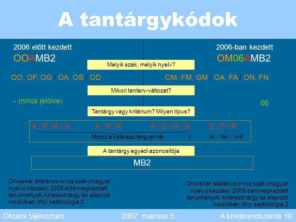 A tantárgykódok OOAMB2 OM06AMB2 MB2 2006 előtt kezdett