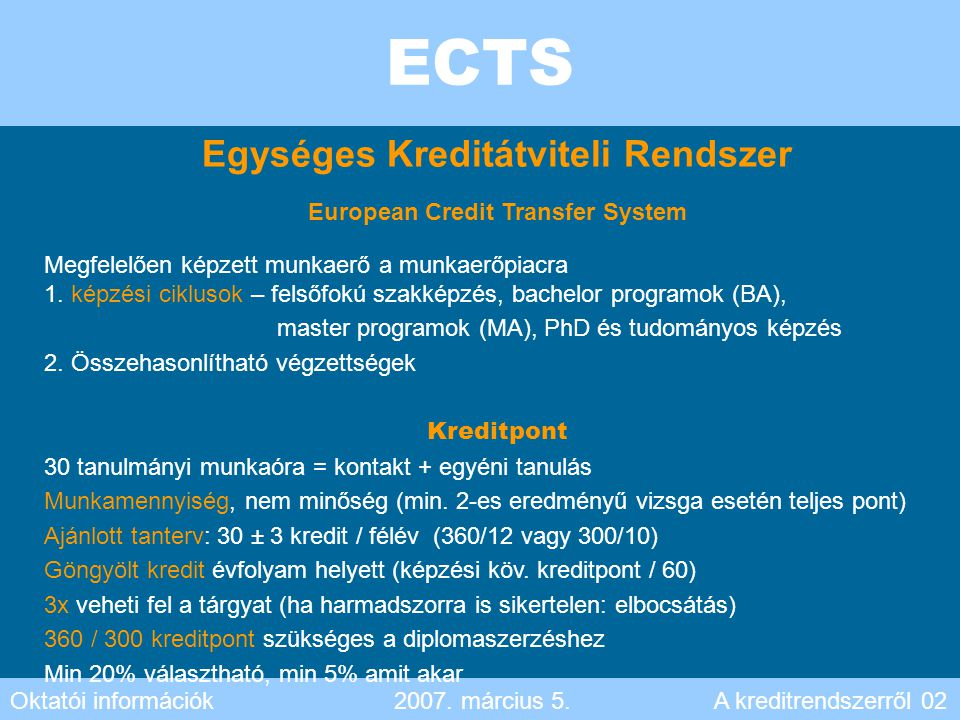 Egységes Kreditátviteli Rendszer European Credit Transfer System