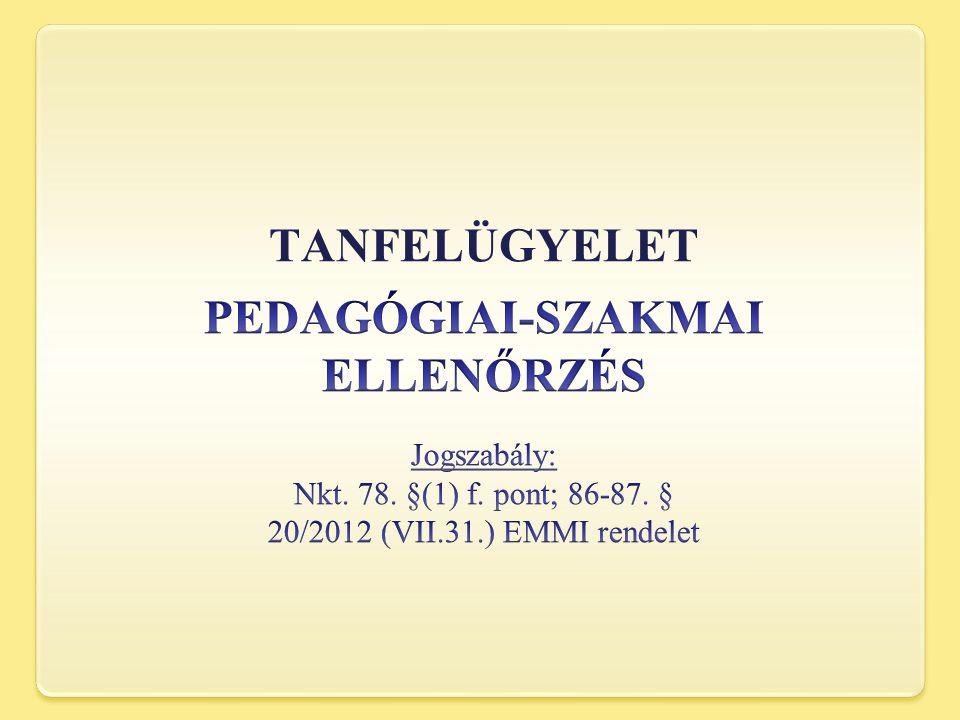 TANFELÜGYELET PEDAGÓGIAI-SZAKMAI ELLENŐRZÉS Jogszabály: Nkt.