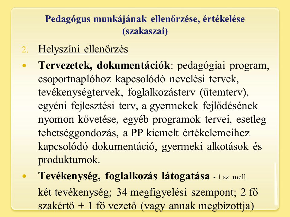 Pedagógus munkájának ellenőrzése, értékelése (szakaszai)