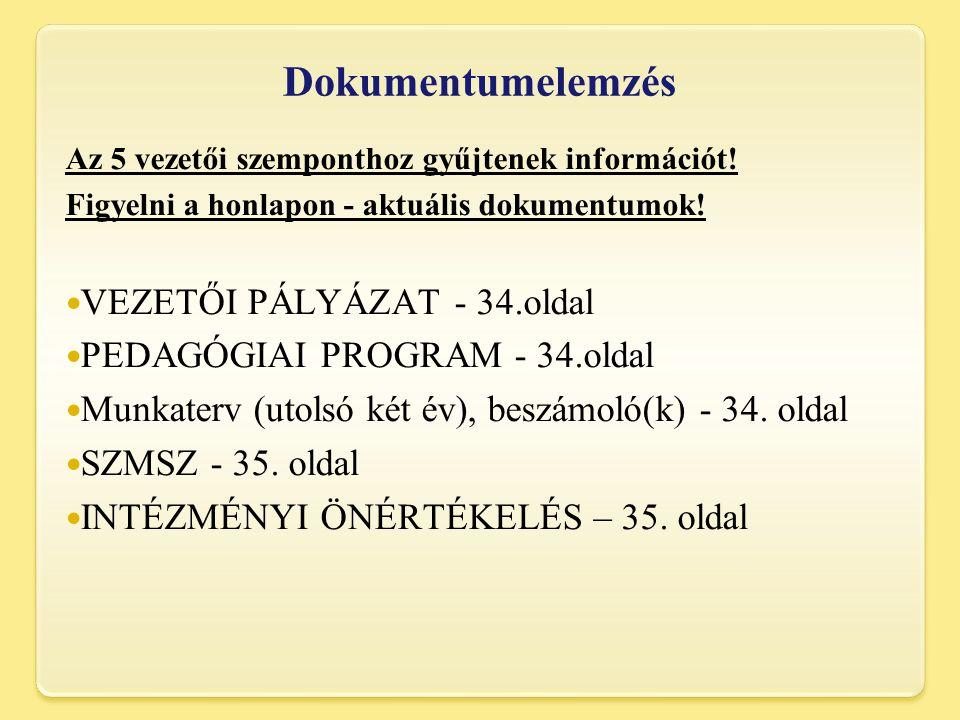 Dokumentumelemzés VEZETŐI PÁLYÁZAT - 34.oldal