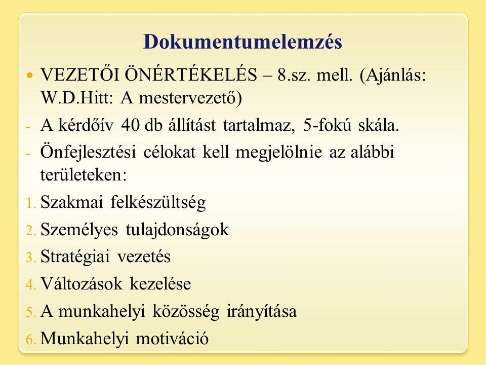 Dokumentumelemzés VEZETŐI ÖNÉRTÉKELÉS – 8.sz. mell. (Ajánlás: W.D.Hitt: A mestervezető) A kérdőív 40 db állítást tartalmaz, 5-fokú skála.