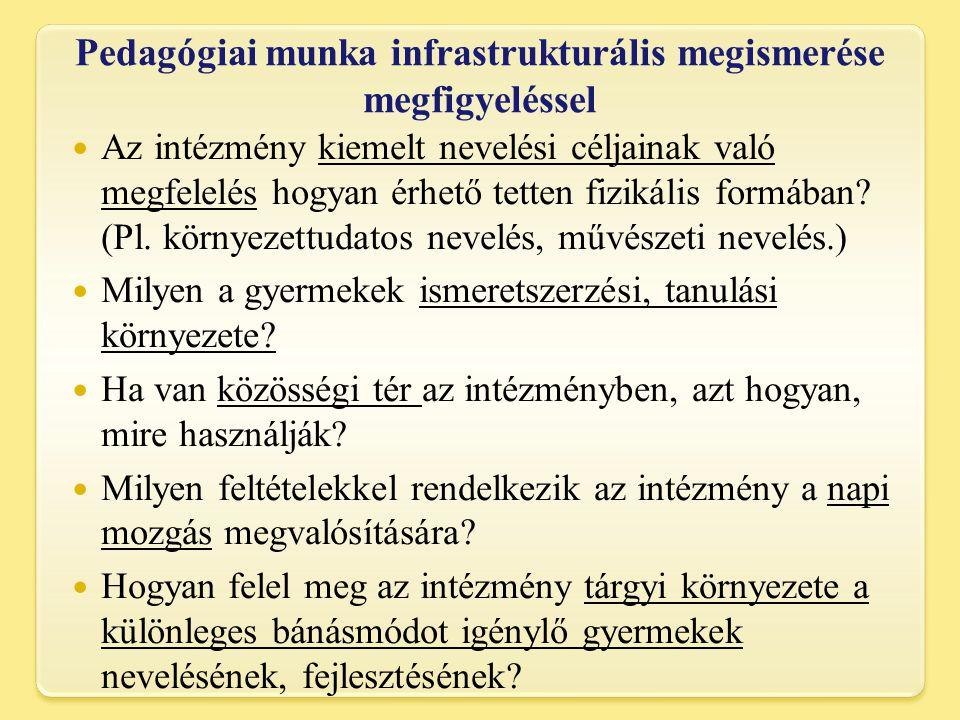 Pedagógiai munka infrastrukturális megismerése megfigyeléssel
