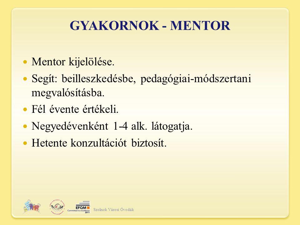 GYAKORNOK - MENTOR Mentor kijelölése.