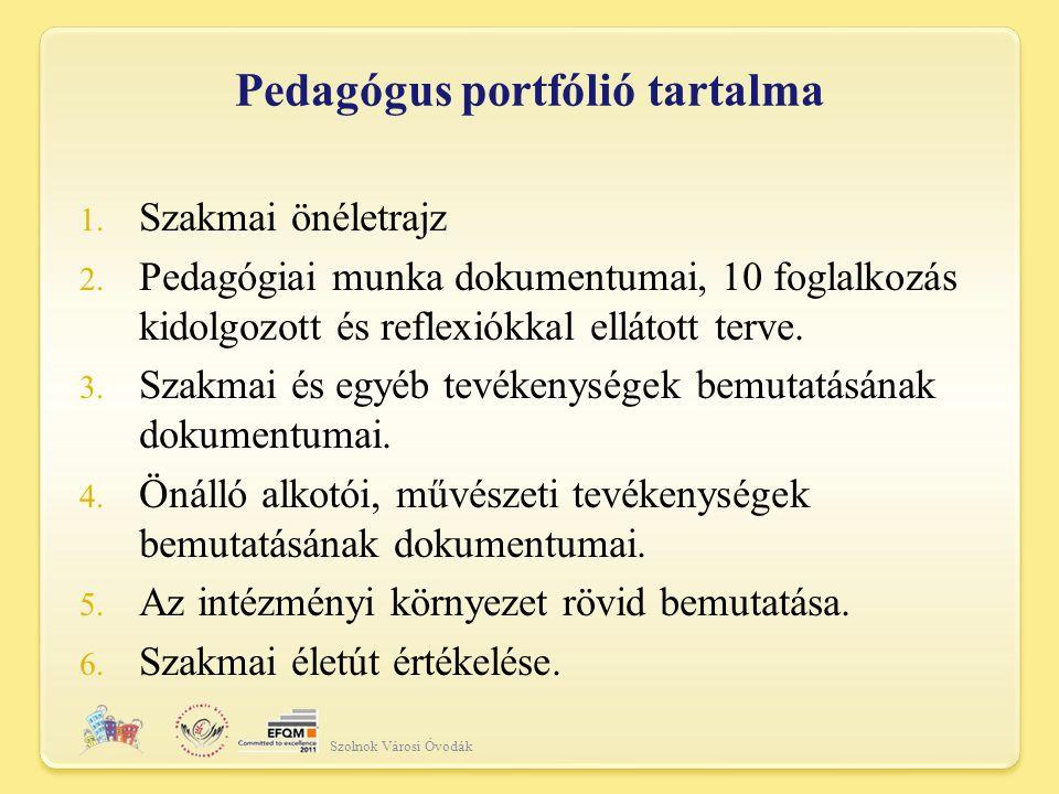 Pedagógus portfólió tartalma